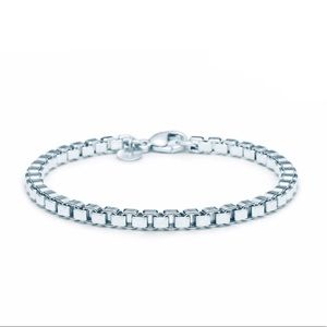 Tiffany & Co. 925 Silver Box Chain Bracelet 7.5""